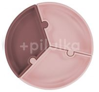 Minikoioi Talíř Puzzle silikonový s přísavkou - Pink / Rose