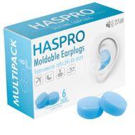 Haspro Mold6 silikonové špunty do uší, modré 6 párů